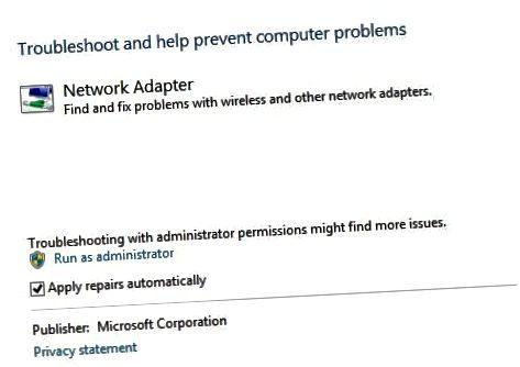 네트워크 어댑터 문제 해결