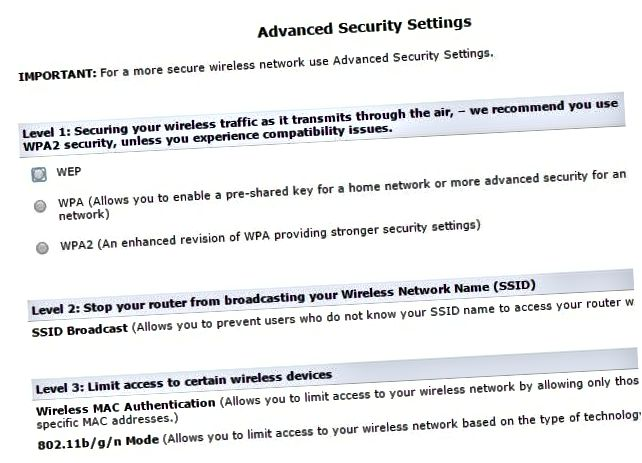 trådløs sikkerhedsindstillinger
