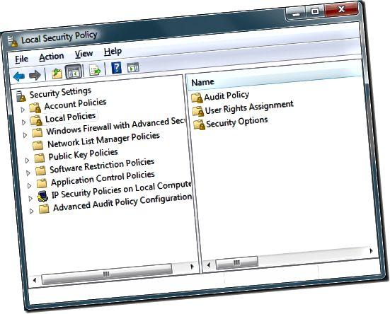 """""""Windows 7"""" vietinės saugos politikos parinktys"""