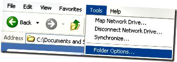 eszközök mappák opciói