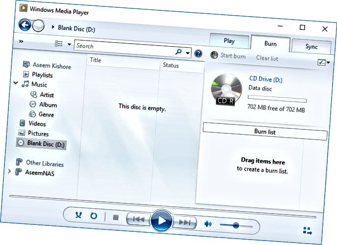 विंडोज़ मीडिया प्लेयर cd