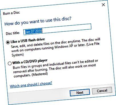 एक डिस्क विकल्प जलाएं