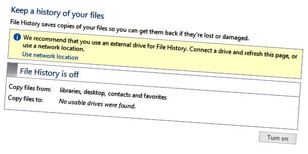 engedélyezze a fájl előzményeit
