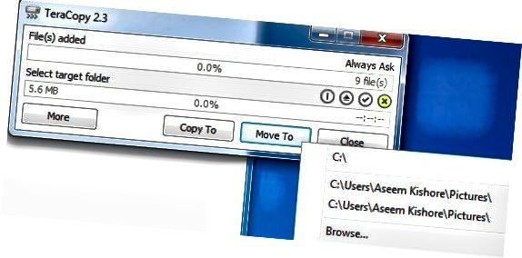 kopijuoti ar perkelti failus
