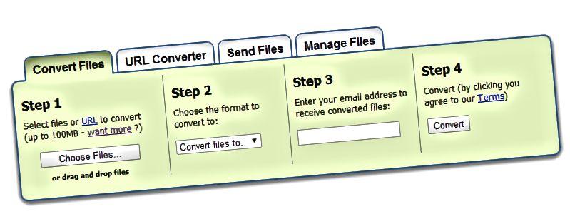 konvertuoti failus zamzar