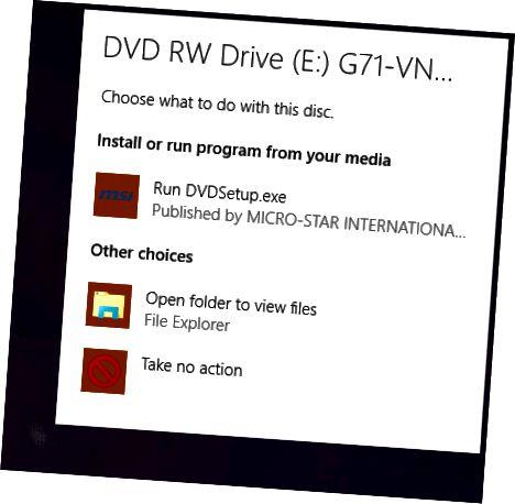 액션 디스크를 선택하십시오
