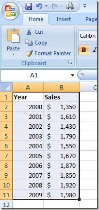 Pilih Data dalam Excel