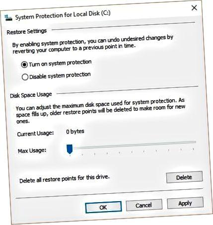 įgalinti sistemos apsaugą