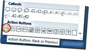 """Ankstesnis """"PowerPoint"""" veiksmo mygtukas"""