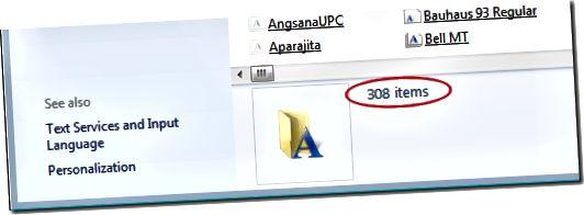 Windows 7에 설치된 글꼴 수