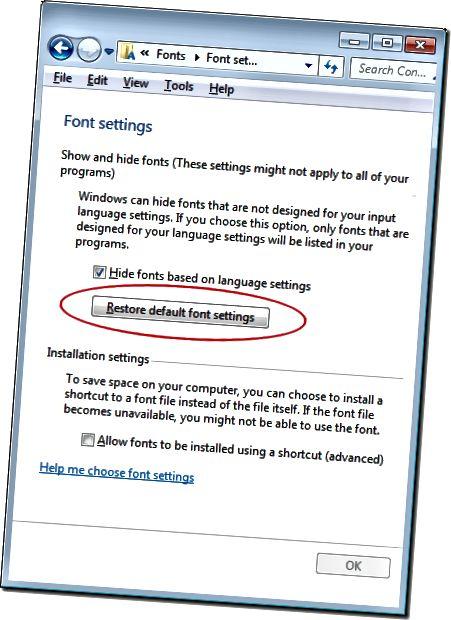 기본 글꼴 설정 복원을 클릭하십시오.