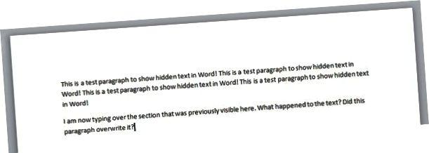 skrifa yfir falinn texta