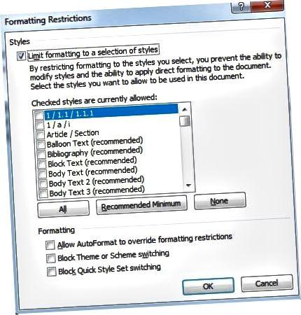 formateringsbegrænsninger