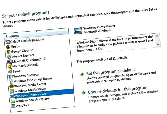 programskih privzetih oken