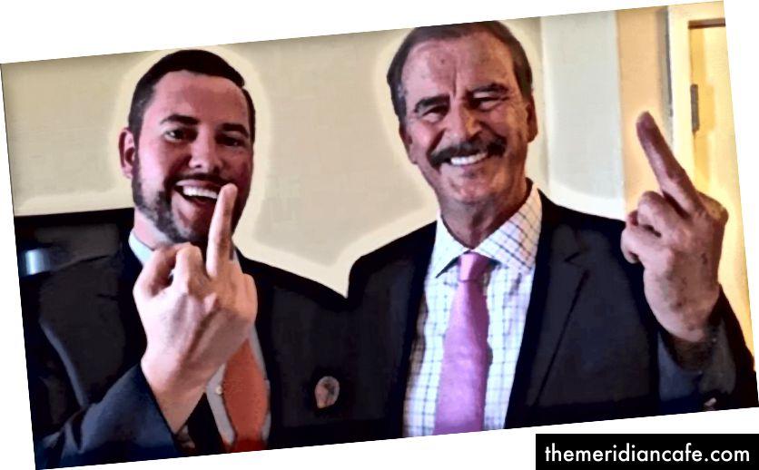 O ex-presidente mexicano Vicente Fox e um assessor têm palavras e gestos fortes para o presidente dos EUA, Donald Trump. (Crédito: truthrevolt.org)