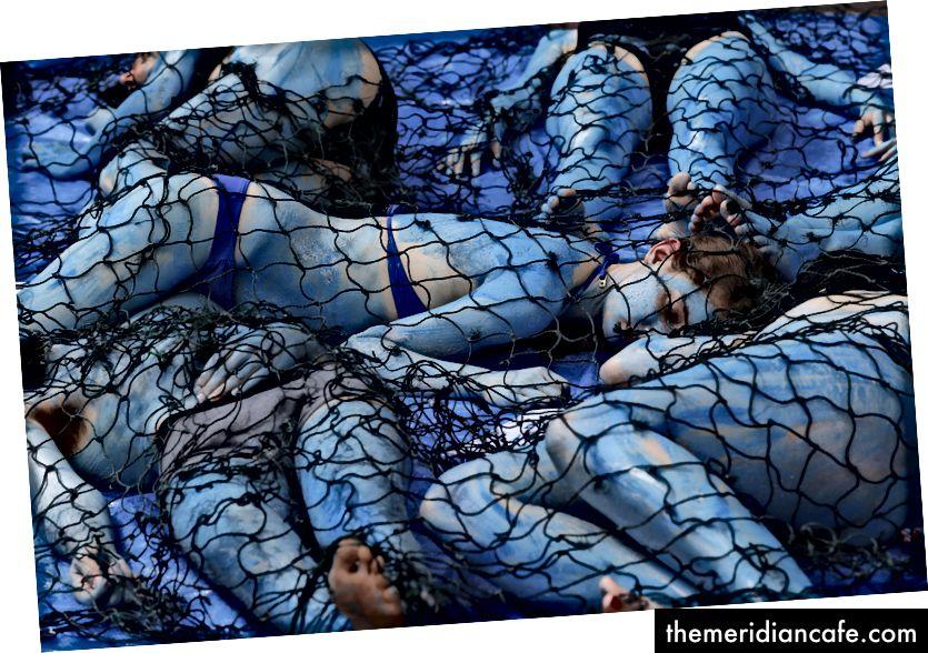 Am 20. Mai 2017, am Europäischen Tag des Meeres, lagen auf dem Boden der Fontaine Saint-Michel in Paris Demonstranten, deren Körper als Fische gemalt waren, während einer Demonstration, die von der Vereinigung der Vegan Impact-Ökologen - GEOFFROY VAN DER HASSELT / AFP / Getty - organisiert wurde Bilder