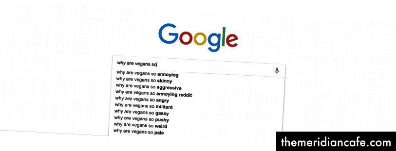 """Prawdziwa propozycja wyników od Google, kiedy zaczynasz pisać """"dlaczego weganie są tacy…"""""""