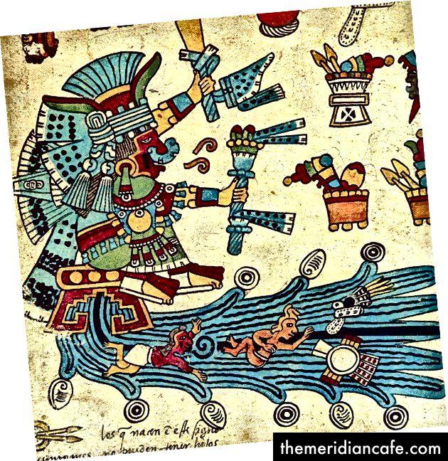 Chalchiutlicue, aztekische Göttin des Wassers und Reiniger der neugeborenen Babys