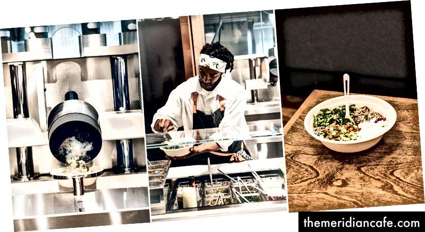 Depois que um dos woks mecanizados de Spyce coloca os alimentos em uma tigela, um funcionário os decora e os entrega ao cliente. (Fotos de Buck Squibb)
