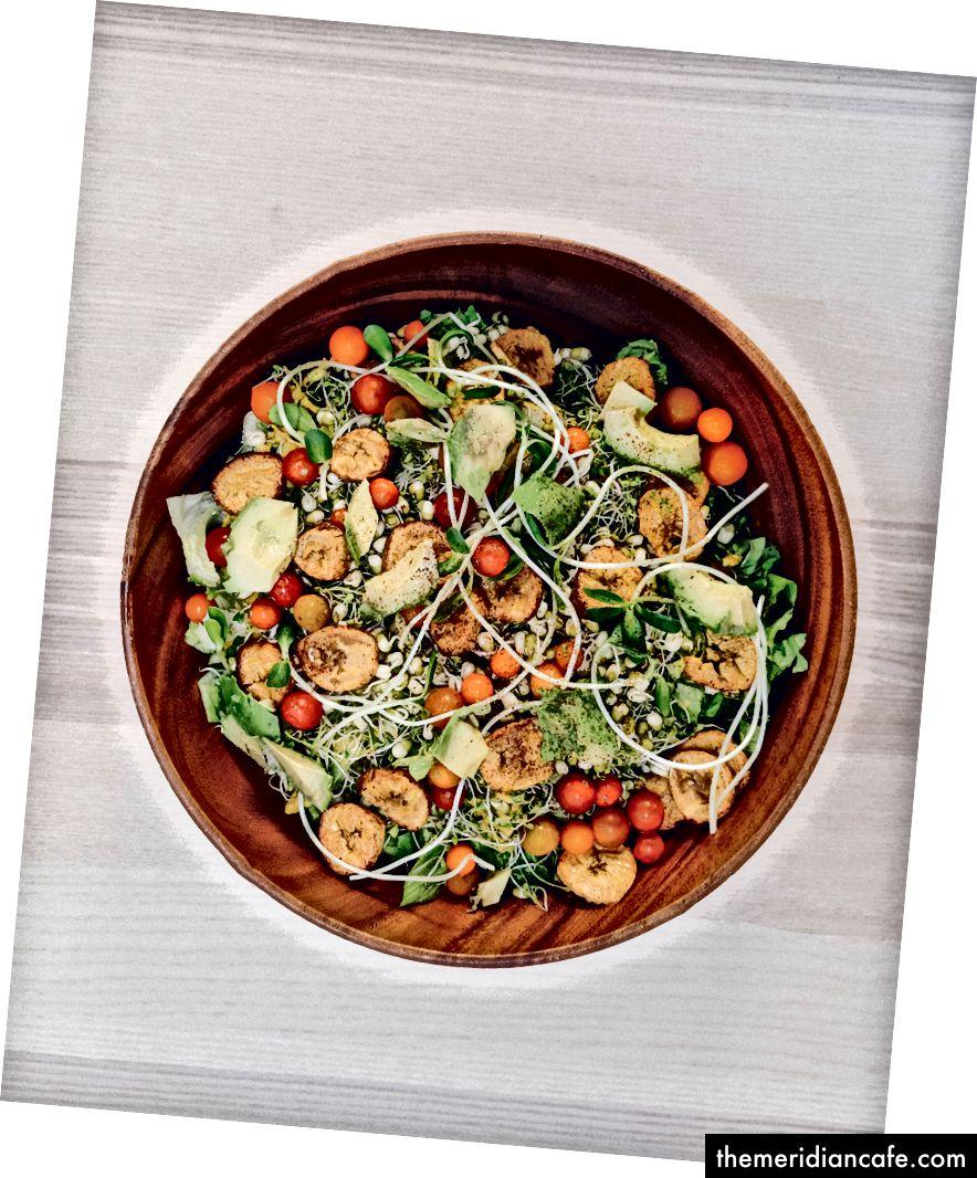 Wer hat gesagt, dass Salat langweilig ist? BIO-Blattsalat, Brokkolisprossen, gekeimte Mungobohnen, Erbsensprossen, ölfrei gebackene Kochbananen, Kabocha-Kürbis, Kirschtomaten, Avocado, Rübensauerkraut und Minze mit rotem Pfeffer-Zucchini-Kürbis / Sonnenblumenkern-Dressing auf der Seite. Alles in einer Schüssel in Familiengröße, die zum Mittag- oder Abendessen serviert wird.