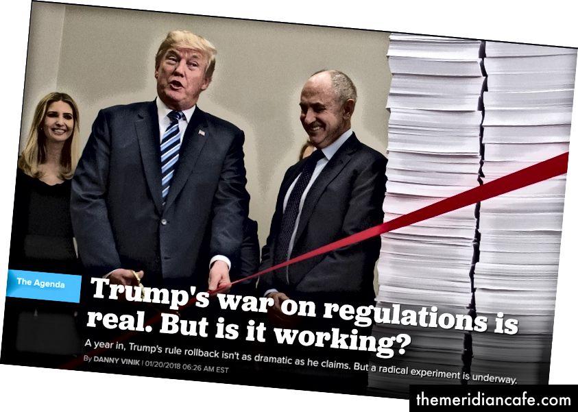 Image: Politico - Un rapport sur la lutte de Trump contre la réglementation, janvier 2018
