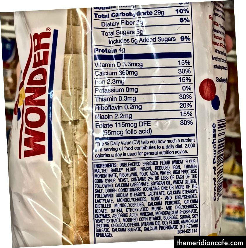 Wonder Bread Classic Informacije o prehrani bijelog