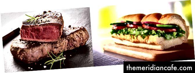 Soczysty stek po lewej stronie i 6-calowy Veggie Delight od Subway po prawej stronie