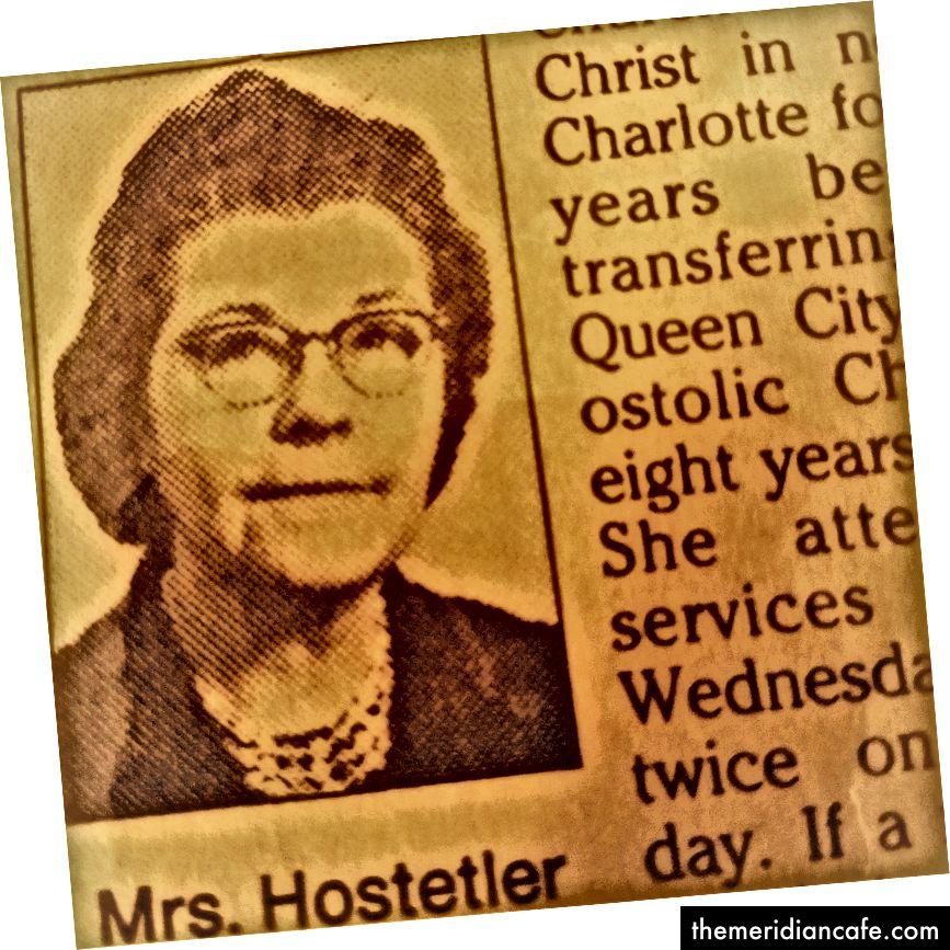 Krupni plan iz bake Hostetler u Obitu u promatraču Charlotte 1995. godine.