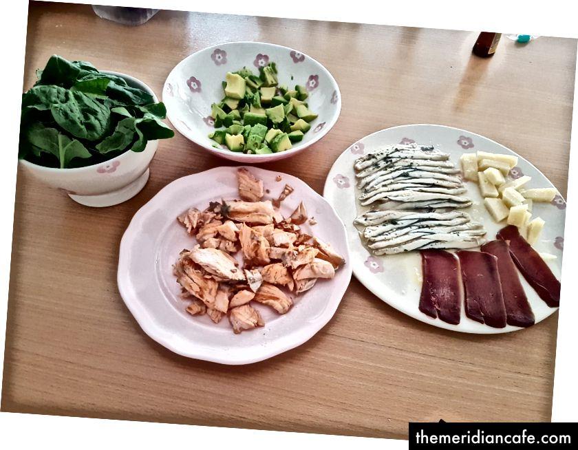 Typowy posiłek keto w domu. Około 1600 kalorii