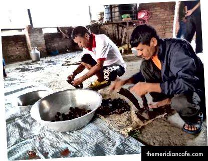 """Po lewej: mięso piecze się, aż na zewnątrz będzie czarne. Haku dosłownie oznacza """"czarny"""" w Newari, a Chhoyala oznacza """"pieczone mięso"""". Haku Chhoyala smakuje najlepiej, gdy używa się tylko mięśni zwierzęcia, podczas gdy inne części, takie jak skóra i tłuszcz, przyczyniają się do innych specjalnych przetworów mięsnych. Zdjęcie: Manju Maharjan, 2018. Po prawej: Członkowie społeczności kroją pieczone mięso na porcje kawałków wielkości kęsa. Zwykle spożywany jako dodatek białka wraz z produktami roślinnymi, podczas uczty podaje się tylko kilka kawałków mięsa. Zdjęcie: Manju Maharjan, 2018"""