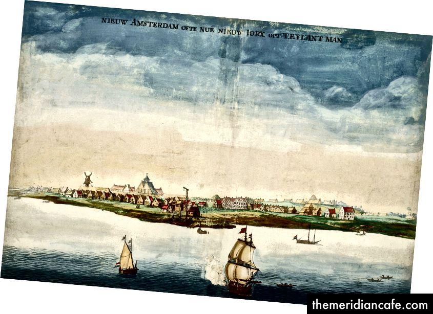 Uma vista de Nova Amsterdã, (agora Nova York), quando foi conquistada pelos ingleses. Johannes Vingboons, (1616-1670), Domínio Público