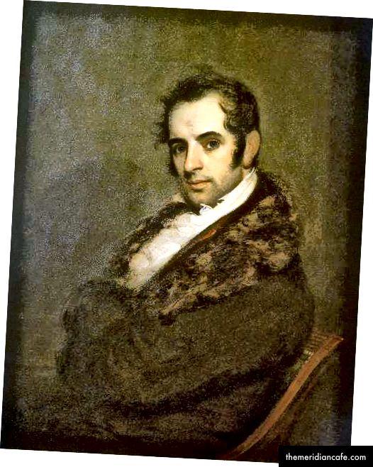 Washington Irving, em 1809, autor da História de Knickerbocker em Nova York, por John Wesley Jarvis, Public Domain