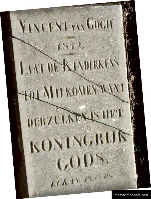 Lápide do homônimo de Vincent van Gogh, seu irmão mais velho, Vncent Willem van Gogh, (março de 1852 - março de 1852), a inscrição diz:
