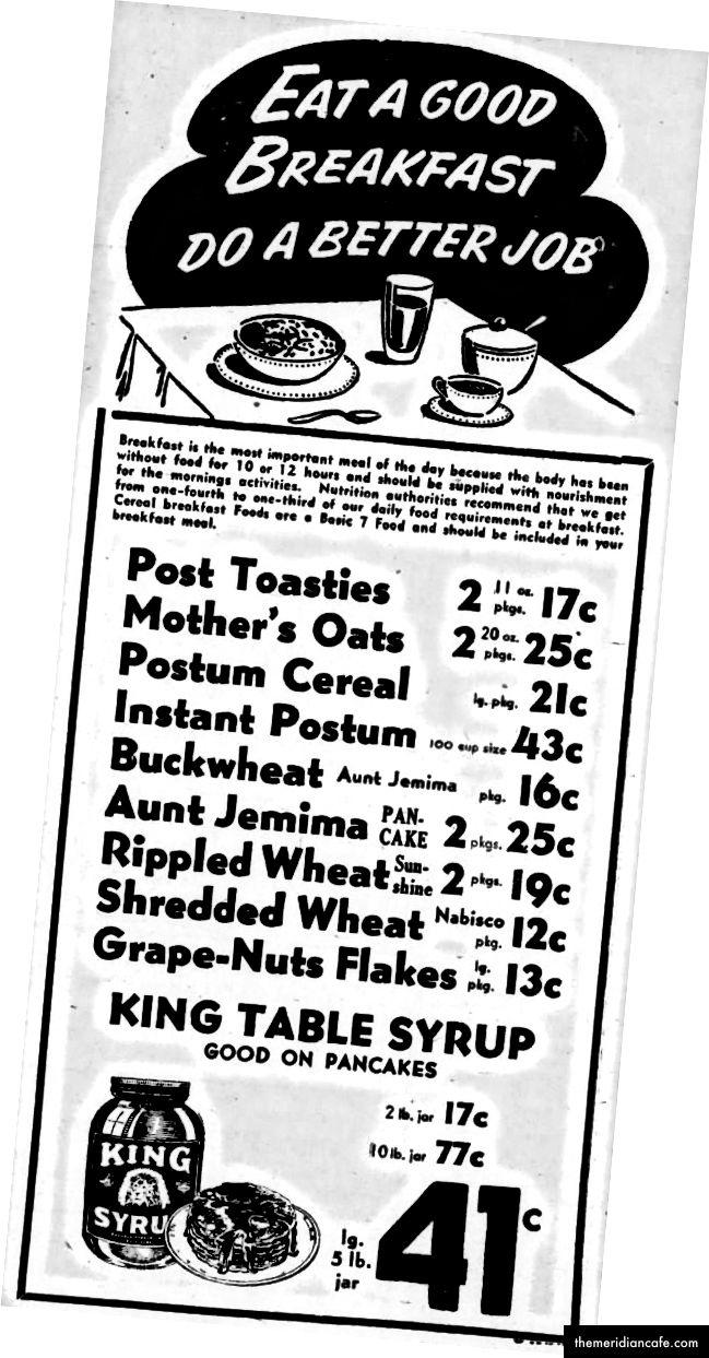 Původní marketingová kampaň na snídani říjen 1944 - Newspapers.com