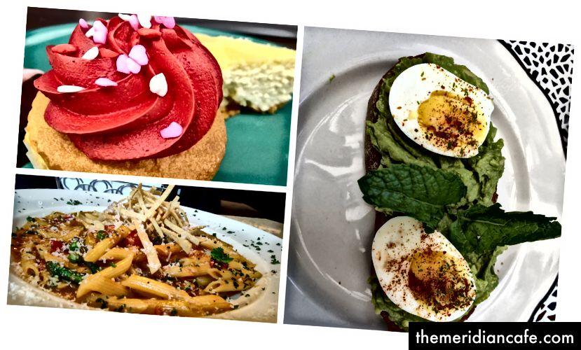 Ryc. 2: Zdjęcia osobiste zebrane za pomocą smartfona. Truskawkowe ciastko (lewy górny róg), tosty z awokado (po prawej), makaron warzywny zwieńczony serem (lewy dolny róg).