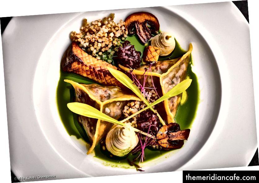 Raviolis farcis aux cèpes et à la sauce aux herbes avec champignons rôtis, sarrasin, confiture d'oignons rouges et purée de céleri-rave.