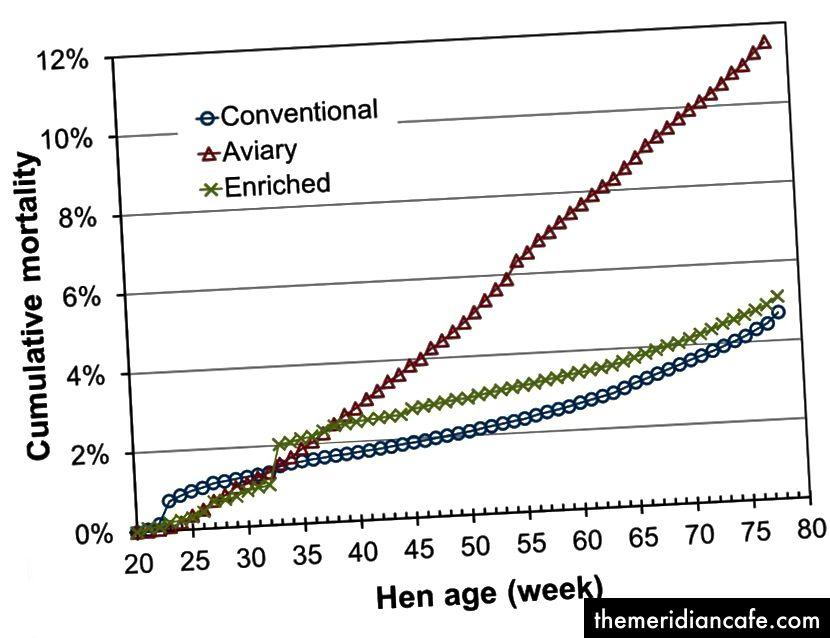 Mortalidade de galinhas no estudo CSES. De Karcher, D. et al. (2015). Impacto de sistemas habitacionais comerciais e consumo de nutrientes e energia nos parâmetros de desempenho e qualidade dos ovos de galinha. Ciência das Aves, peu078.