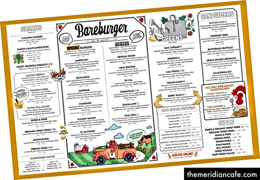 Menu Bareburger uzupełnione zestawem dobrze zbadanych ikon i ilustracji związanych z marką.