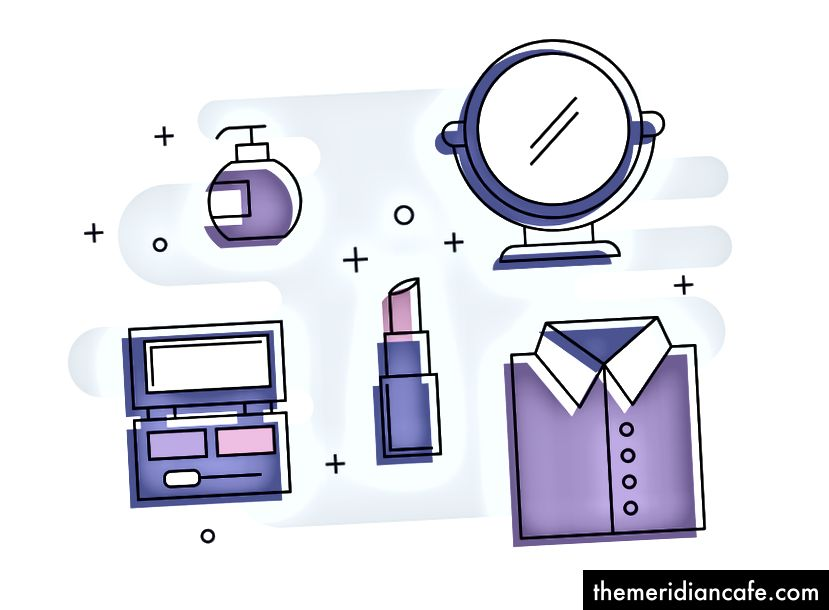 画像の説明:メイクアップパレット、香水、口紅、ボタンアップシャツ、鏡など、外観を表すさまざまな要素を示す図。