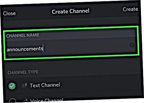 Crear un canal