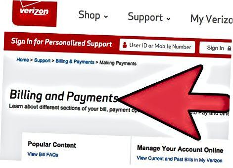 Verizon veb-saytida Onlayn to'lov