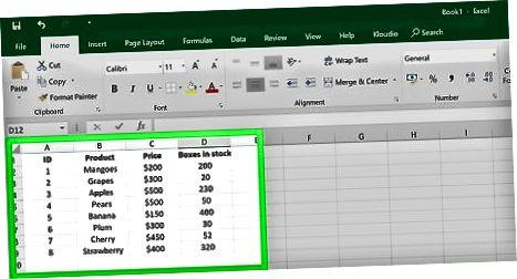 Excel-da allaqachon ma'lumotlar uchun