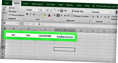 Excel-da aloqa sahifasini yaratish