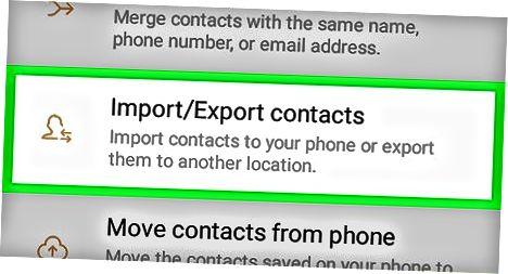 VCard faylini import qilish