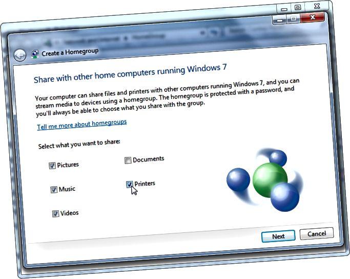 Windows- 홈 그룹과 공유 프린터