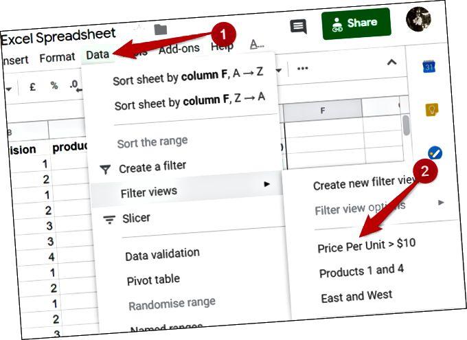 Θέλετε να δείτε ξανά την προβολή σας; Κάντε κλικ στην επιλογή Δεδομένα> Φίλτρο προβολών και επιλέξτε ένα φίλτρο για προβολή.