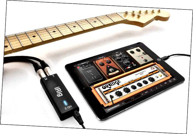Guitarra connectada a iRig HD2 i un iPad