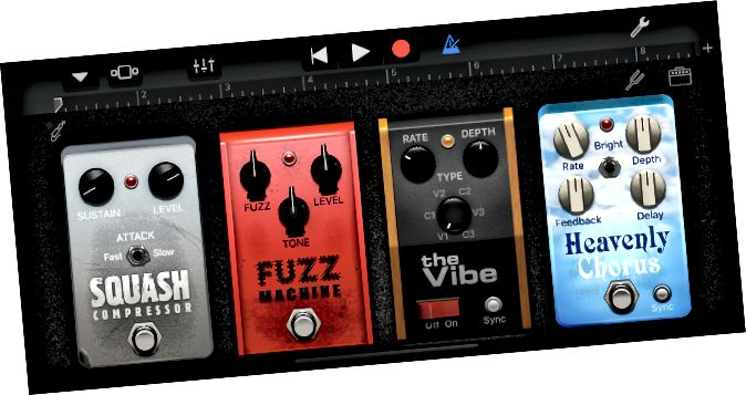 Cadena de pedals d'efecte GarageBand que funciona en iPhone