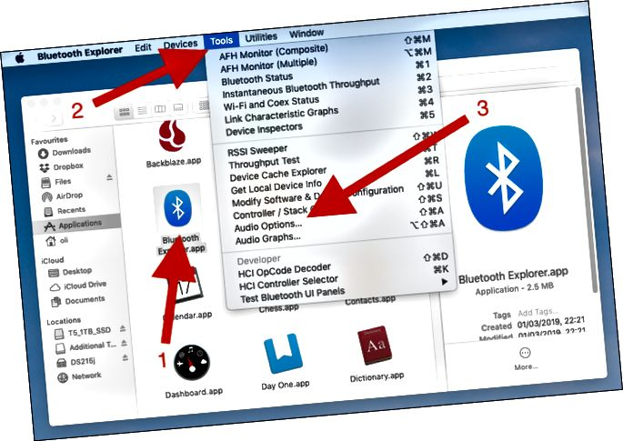 Feu doble clic sobre l'explorador Bluetooth. Feu clic a Eines. Feu clic a Opcions d'àudio.