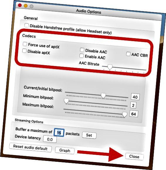 Comproveu l'ús forçat d'aptX i activeu les caselles AAC. Feu clic a tancar